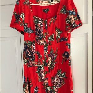 Anthropologie Red Floral Button Up Dress